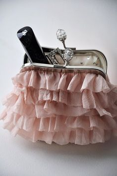 ruffles,rhinestones,pink...what is not to love about this little bag?