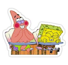 "spongebob and patrick"" Stickers by Megan Carney Stickers Cool, Meme Stickers, Tumblr Stickers, Phone Stickers, Star Stickers, Printable Stickers, Planner Stickers, Cartoon Stickers, Patrick Spongebob"