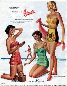 41 Trendy Ideas For Swimwear Retro Swimming Vintage Advertisements, Vintage Ads, Vintage Sewing, Vintage Posters, Retro Swimwear, Vintage Swimsuits, Retro Fashion, Vintage Fashion, Beach Fashion