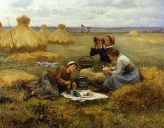 The Athenaeum - Breakfast in the Fields Daniel Ridgway Knight - 1884 Private collection Painting - oil on canvas