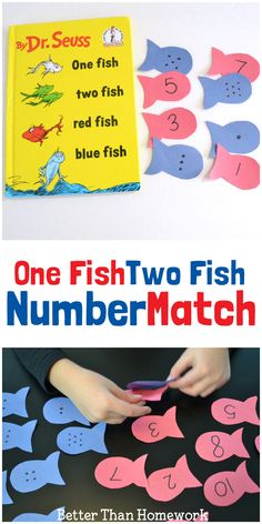 Play a fun number match game inspired by Dr. Seuss's One Fish Two Fish Red Fish Blue Fish
