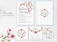 Cherry Blossom wedding invitation set