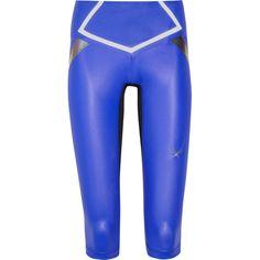 Lucas Hugh Flash lightweight stretch Capri leggings ($125) ❤ liked on Polyvore featuring pants, leggings, blue, legging pants, capri leggings, stretch pants, royal blue leggings and stretchy pants