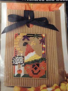 Boo Pumpkin Beaded Kit Autumn Fall Halloween Tote Mill Hill Glass Beads Bag