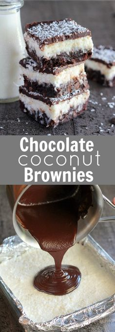 Chocolate Coconut Brownies - Fudgy brownies topped with a layer of creamy sweet coconut, and finished with a smooth chocolate ganache. Use your favorite boxed or homemade brownie recipe for this decadent triple layer dessert.
