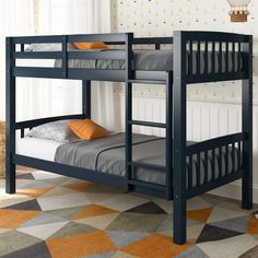 Extend your childs sleeping space with the Dakota Collection twin/single bunk bed from CorLiving. This well constructed bunk bed features timeless styling that will last for years. A great space-saving solution, this bed easily converts into two indi Bunk Beds Boys, Cool Bunk Beds, Bunk Beds With Stairs, Kid Beds, Loft Beds, Single Bunk Bed, Bunk Bed Designs, Bed Plans, Loft Spaces