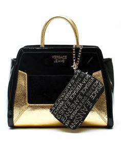 Another great find on #zulily! Gold & Black Leather Satchel & Wristlet by Versace Jeans Collection #zulilyfinds