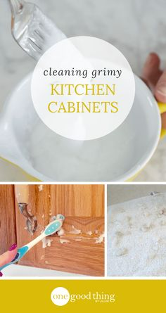 42 Seriously Useful Tips Every Clean Freak Needs To Know Grease and grime from cooking can build up on your kitchen cabinets. Learn how to use 2 natural ingredients to get them looking cleaner than ever! Deep Cleaning Tips, House Cleaning Tips, Spring Cleaning, Cleaning Hacks, Diy Hacks, Cleaning Grease, Cleaning Solutions, Cleaning Products, Cleaning Rugs