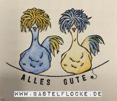 """www.bastelflocke.de - Die Hühner sind los ;-) auch ich habe mich an dem Set """"Das Gelbe vom Ei"""" probiert. Mehr Bilder und Informationen findest Du auf meinem Blog unter www.bastelflocke.de #saleabration #sab #dasgelbevomei #stampinup #jeansblau #schiefergrau #stempel #angebracht #hühner #chicks #aquarellpapier #wassertankpinsel #leine #allesgute #ausfreudigemanlass #karte #geburtstag #eier #federn"""