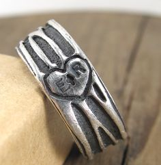 Personalized Tree Ring - Woodgrain Ring -Carved Heart Ring. $30.00, via Etsy.