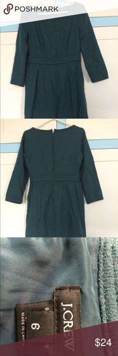J.Crew Wool Dress J.Crew Dark Green Wool Dress, perfect for work. Some pilling, but still in good condition. I would keep it, but it doesn't fit me anymore. J. Crew Dresses