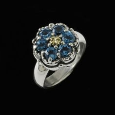 Cluster Gemstone Ring in Silver, Gold and Blue Topaz by Bowman Originals, USA