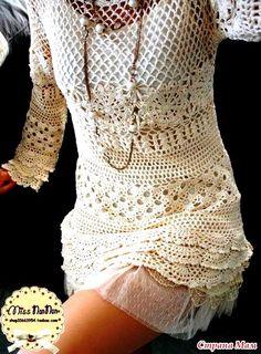 Irish crochet &: Нарядное платье-туника. МК Step by step