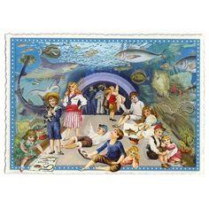 Victorian Children at the Aquarium Large Postcard ~ Germany