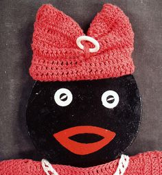 Vintage Black Mammy Wall Hanging with Crocheted Clothes