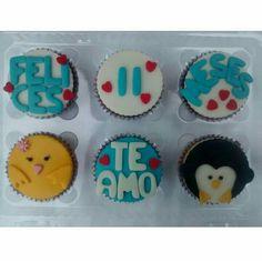 Cupcakes novios amor pollita y pinguino