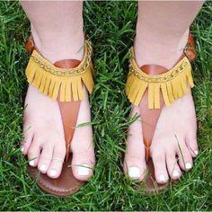 DIY Leather Fringe Sandals