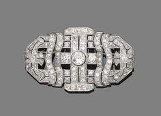 An art deco diamond brooch, circa 1930 Of pierced geometric design, millegrain-set throughout with old brilliant and single-cut diamonds