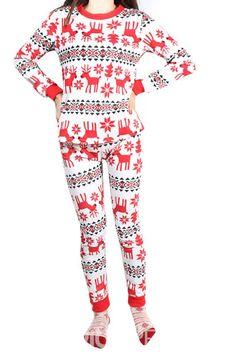 d75c80b87d Ericdress Fawn Snowflake Print Long Christmas Pajama Set for Women