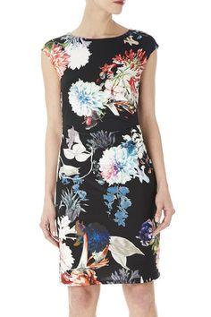 Black Petite Print Ruche Dress