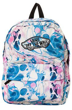 0f640358dc Vans Backpack Realm Marble Blue and Pink Bags For Teens