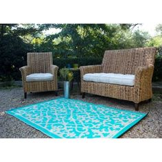 Fab Habitat World Venice Cream & Turquoise Indoor/Outdoor Area Rug Rug Size: Blue Outdoor Rug, Indoor Outdoor Area Rugs, Outdoor Decor, Turquoise Rug, Machine Made Rugs, Home Decor Online, Decoration, Outdoor Furniture Sets, Garden Furniture