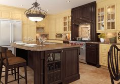 Eurostyle Traditional Kitchen in Brown and Off-White