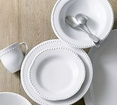 Emma Dinnerware 16 Piece Set with Soup Bowl - True White