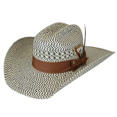 Lakota by Renegade is sure to turn heads. The Shantung Straw style hat has a unique black and natural two-tone pattern weave with a 4 brim with a Rodeo crown. The crown is accented with a distressed grosgrain ribbon band, small spur pin, and two fe Western Horse Tack, Western Hats, Horse Barns, Western Saddles, Horse Stalls, Horse Training Tips, Horse Tips, Barrel Horse, Equestrian Problems