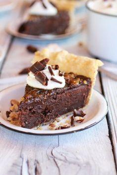 Fudge Brownie and Chocolate Liqueur Creme Brulee Pie