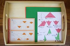 Multi-level origami tray and link to Easy Origami site with free printable origami diagrams from very easy to very difficult (plus Montessori-Inspired Little Passports Japan activities)