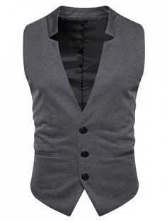V Neck Edging Single Breasted Waistcoat - DEEP GRAY XL