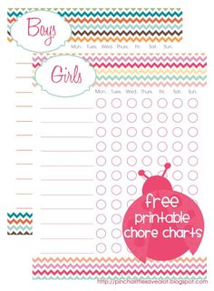 Free Printable: Kids Chore Charts - I just filled out (pdf), printed, and laminated them to reuse each week.  Great way to start teaching the kids some household responsibility.