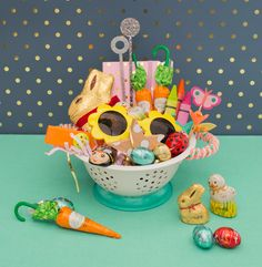 Back in trend diy polka dot crafts add fun pattern to the modern ohjoy took our lindt gold bunny and created 3 fun easter baskets for your girlfriends negle Gallery