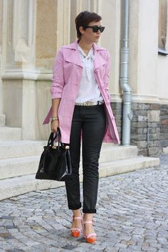 I adore this trench! (You know, for when I live in London someday. Pink Trench Coat, Pixie Cut, Personal Stylist, Formal, Suits You, Body Shapes, Spring Summer Fashion, Pretty In Pink, Me Too Shoes