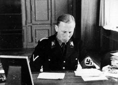 Reinhard Heydrich at his desk in Gestapo headquarters