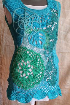 Art to wear  Boho Chic Unique Turquoise Freeform Crochet Knitting Sweater Vest Top Tunic or Dress , Irish Crochet, Lace Crochet Top