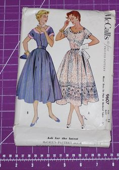 Vintage McCalls Dress Pattern Misses Size 12 1953