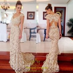 vampal.co.uk Offers High Quality Champagne Full Lace Sheer Bodice Sweetheart…