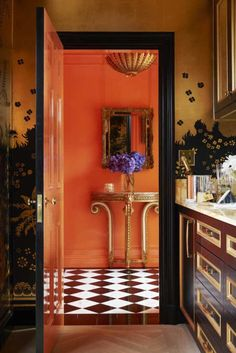Glossy, vivid walls infuse new age glamour into the New York City apartment of design historian Maureen Footer. The orange-lacquered walls of the entry way complement the Armand-Albert Rateau-inspired custom wallpaper in the butler's pantry Kitchen Paint Colors, Blue Paint Colors, Room Colors, Plywood Furniture, Smart Furniture, Refurbished Furniture, Painted Furniture, Bedroom Furniture, Modern Furniture