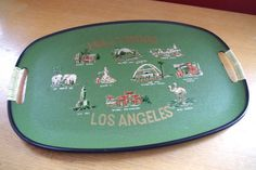 Vintage 1950s Hollywood Los Angeles California Souvenir Tray by retrowarehouse