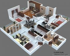The project has 5 types of flats in Whitefield. 3 sizes of starting from… 3d House Plans, House Layout Plans, House Blueprints, Dream House Plans, House Layouts, Sims House Design, Bungalow House Design, Dream Home Design, Home Design Plans