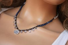 Coin Crochet Necklace,Semi Precious Stone Tibetian Silver Turkish Coin Boho Chic Jewelry