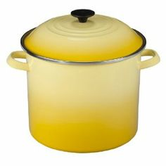 Le Creuset Enameled Steel Stock Pot with Lid, 12-Quart, Soleil by Le Creuset of America. $109.95. Hand wash only; safe for use on all heat sources, including induction. Loop side handles ensure a secure grip when lifting or transporting. Tight-fitting domed lid with a stay-cool knob traps heat, moisture and nutrients. 12-quart stockpot made of heavy-gauge carbon steel with porcelain-enamel finish. Measures approximately 11-1/5 by 13-1/5 by 11-1/2 Inch. The Le Cr...