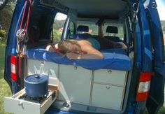 Pull out stove top is genius Build A Camper Van, T4 Camper, Camper Beds, Camping Glamping, Van Camping, Camping Hacks, Honda Element Camping, Van Dwelling, Living On The Road