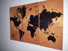 Vintage Wereldkaart Scherm afdrukken hout door CedarWorkshop