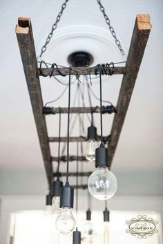 Cool light made with a vintage ladder