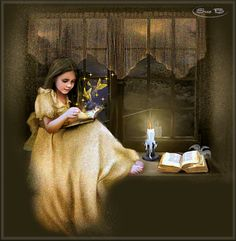 Fairy  gif | Girl Reading Fairy Tales Animated GIF