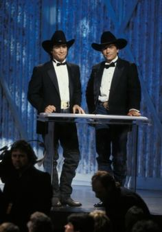 Clint Black and George Strait host in Academy of Country Music Awards, 1990.