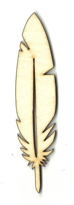 Feather Unfinished Laser Cut Wood Shape XTR3